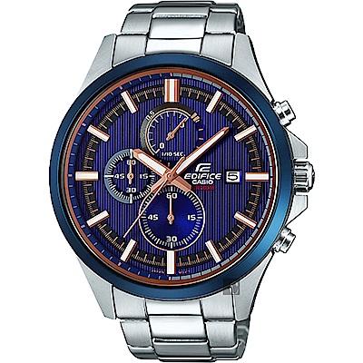 CASIO卡西歐 EDIFICE 賽車設計手錶-藍直紋