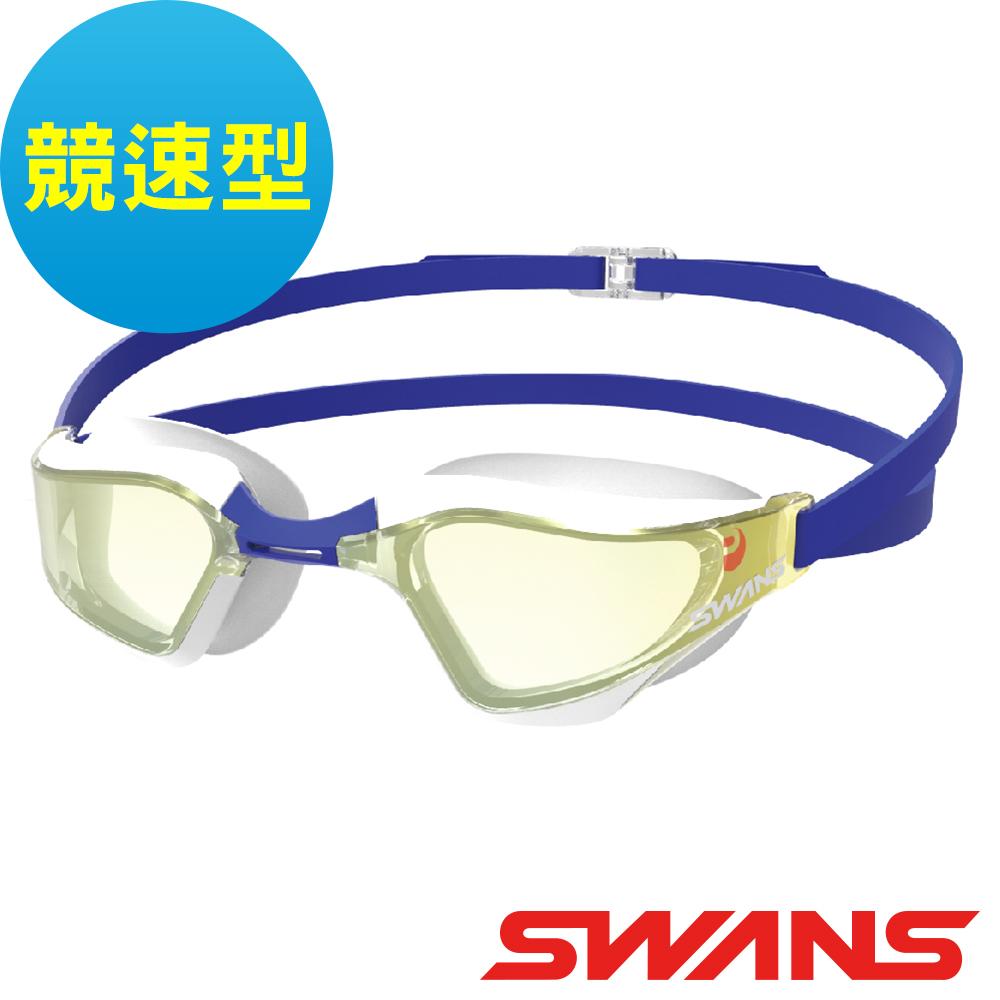 【SWANS 日本】專業競速型泳鏡SR-72MPAF藍/白(防霧/抗UV/可調式鼻墊)