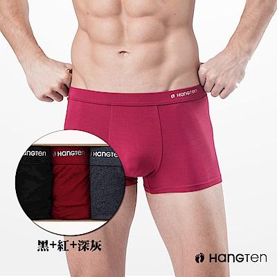 HANG TEN 經典彈力平口褲三入組_深灰+紅+黑(HT-C12001)