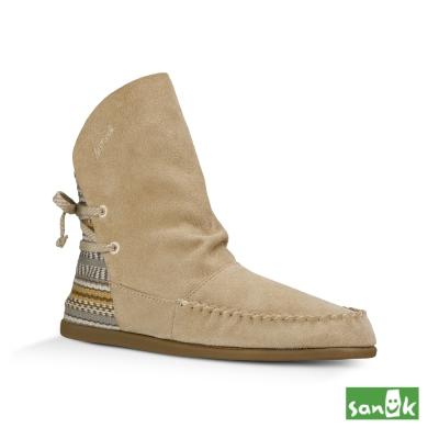 SANUK 麂皮拼接編織中筒靴-女款(米色)