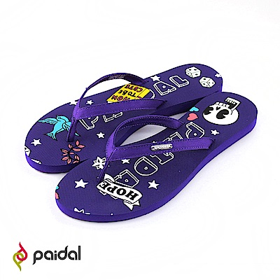 Paidal粉紅龐克骷顱頭平底夾腳拖人字拖-搖滾紫