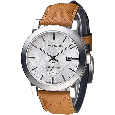 BURBERRY 英國皇室品味設計風格獨立小秒盤男錶-銀白(BU9904)/43mm
