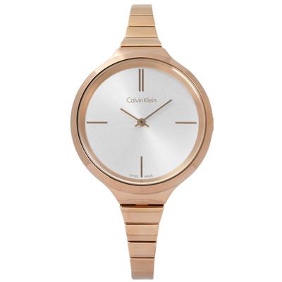 CK  Lively 簡約摩登設計不鏽鋼手錶 -銀x鍍玫瑰金 /34mm