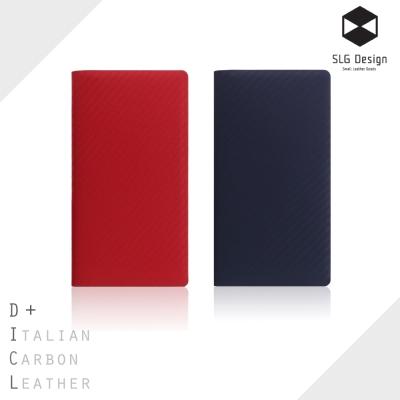 SLG Design iPhone X D+ ICL 奢華碳纖紋 頂級真皮側掀皮...