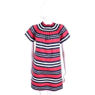BLUGIRL-FOLIES 紅x藍x白鬆緊領設計條紋短袖洋裝