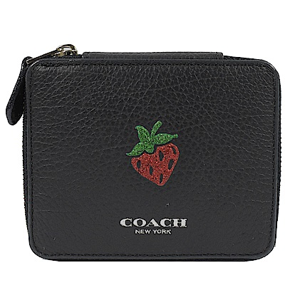 COACH 燙印LOGO趣味圖樣牛皮飾品盒(黑/草莓)