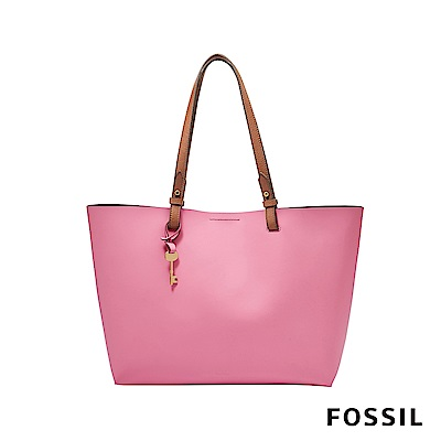 FOSSIL RACHEL 柔軟真皮托特包(附手拿小包)-草莓牛奶