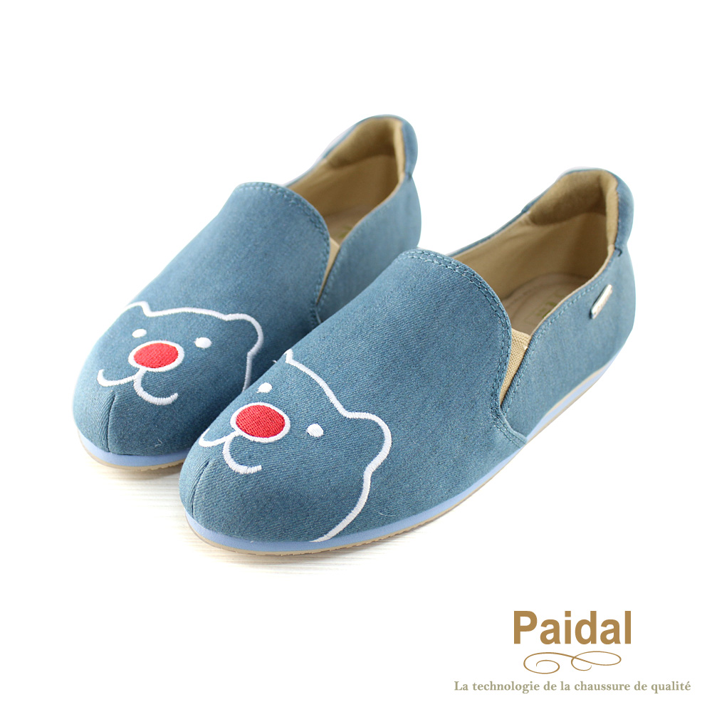 Paidal 帆布紅鼻熊休閒樂福鞋懶人鞋-灰藍