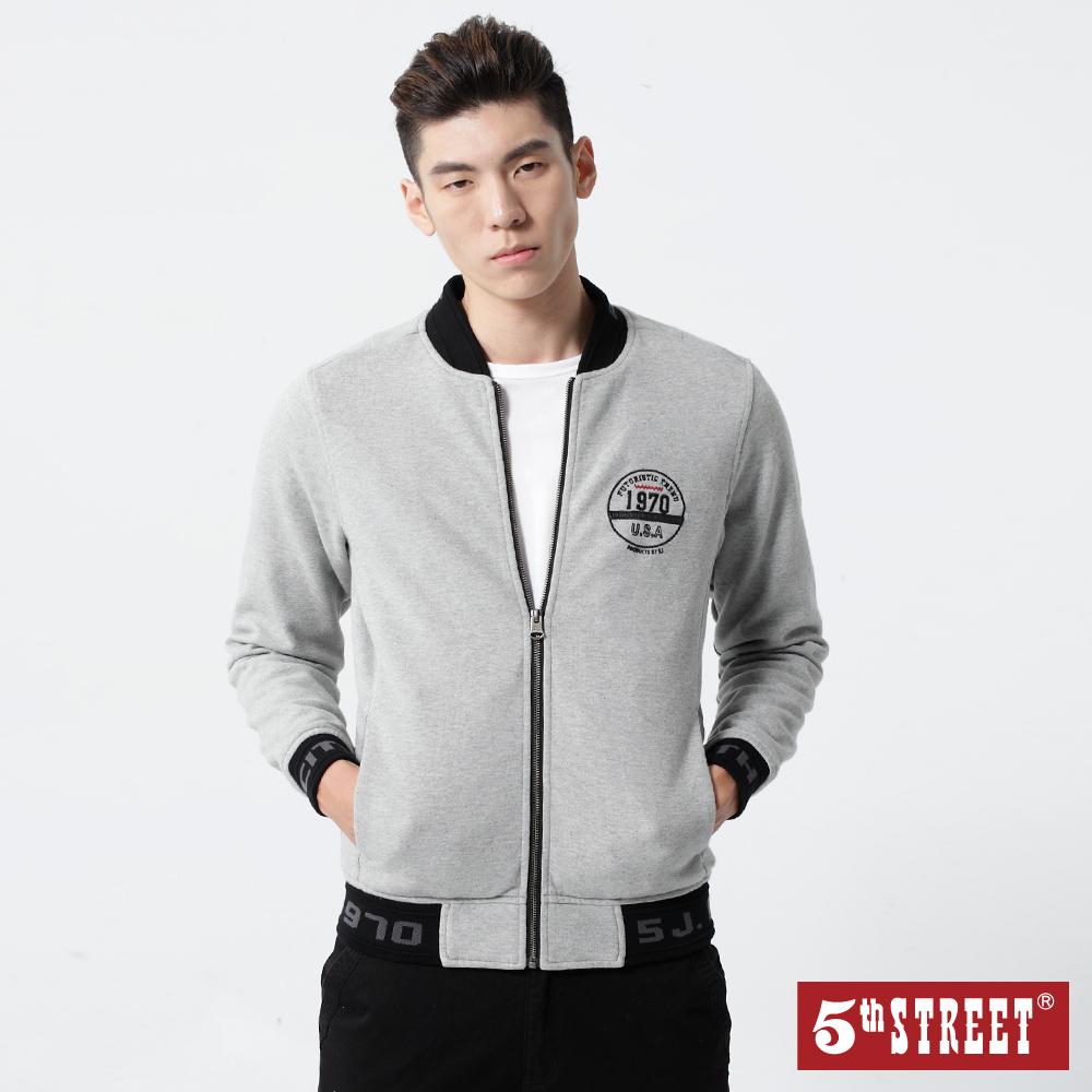 5th STREET 簡約繡字夾克外套-男-麻灰