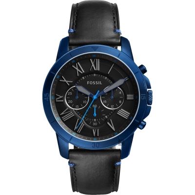 FOSSIL Grant 復刻計時男錶(FS5342)-黑x藍框/44mm