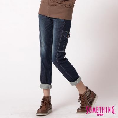 SOMETHING 中直筒 貼袋牛仔褲-女-酵洗藍