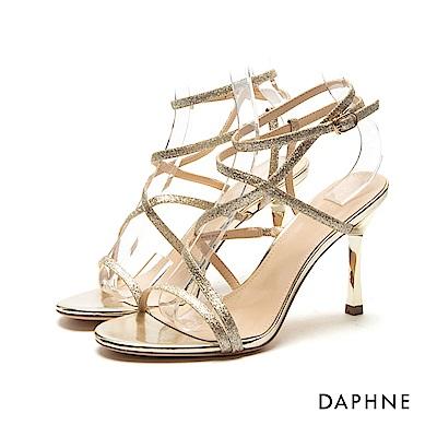 達芙妮DAPHNE 涼鞋-亮片金蔥細帶纏繞高跟涼鞋-金
