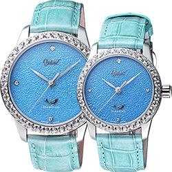 Ogival愛其華 琺瑯晶鑽機械對錶-淺藍/42+37mm