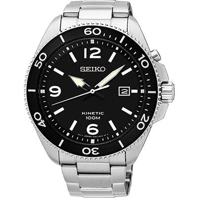 SEIKO 精工 KINETIC 衝鋒突擊人動電能腕錶(SKA747P1)-黑/44mm