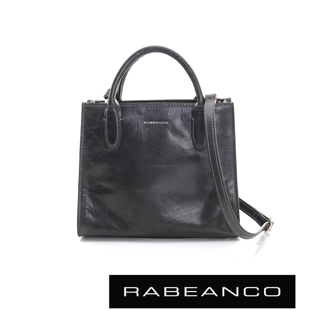 RABEANCO 迷時尚牛皮系列經典方型手拿肩背包 暗灰
