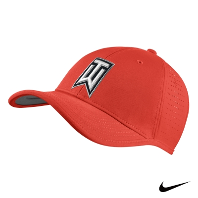 NIKE GOLF TigerWoods 素面可調式運動網帽-紅726291-696