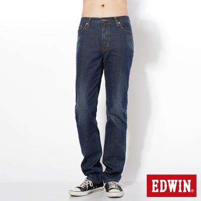 EDWIN-大尺碼-基本五袋高腰中直筒牛仔褲-男款-中古藍