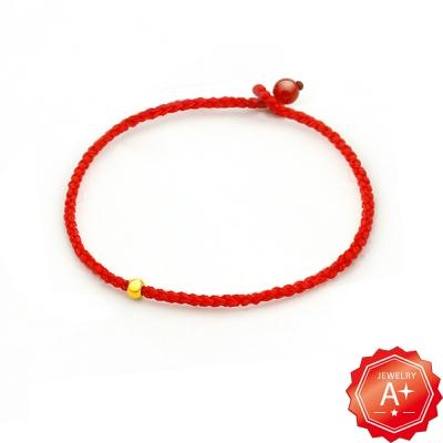 A+ 唯愛 千足黃金轉運珠紅繩手鍊