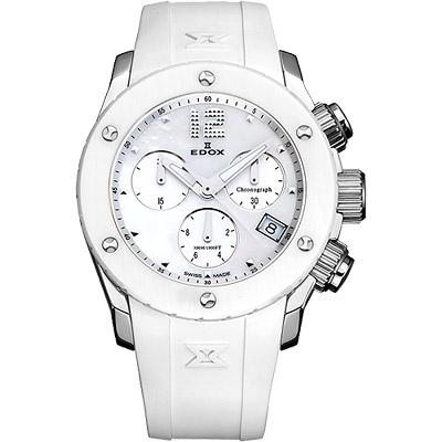 EDOX Class-1 陶瓷珍珠貝計時腕錶-白/38mm