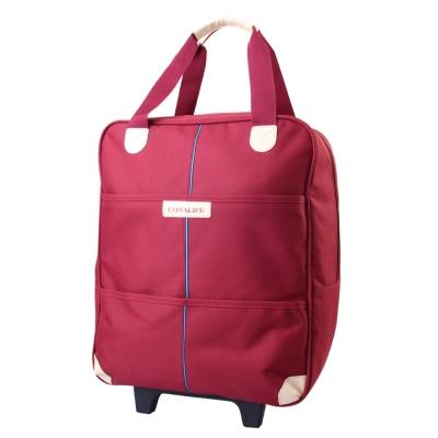 Conalife 台灣製升級版超大容量拉桿購物袋行李包 (酒紅色)
