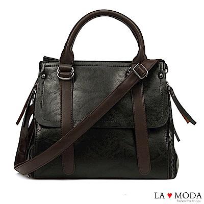 La Moda 質感女孩多種背法手提肩背斜背包(黑)