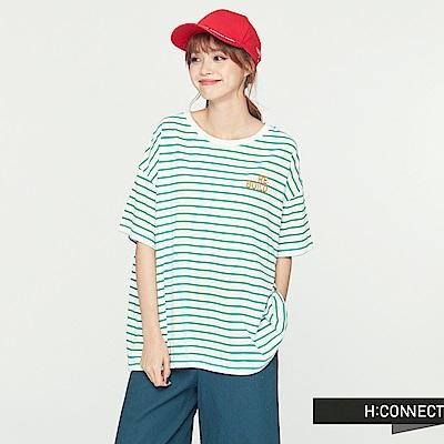H:CONNECT 韓國品牌 女裝 - 條紋棉質圓領上衣-綠