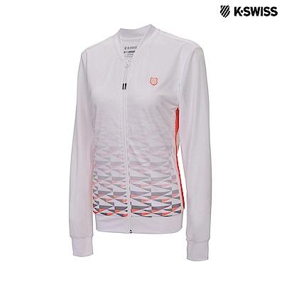 K-Swiss Print Mesh Jacket網面運動外套-女-白/橘