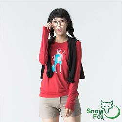 【SNOWFOX 雪狐】質輕透氣不悶熱 防曬女款長袖圖T恤 ATL-81652W 紅