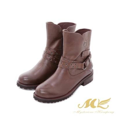 MK-台灣全真皮-西部牛仔皮帶平底粗跟短靴-咖啡