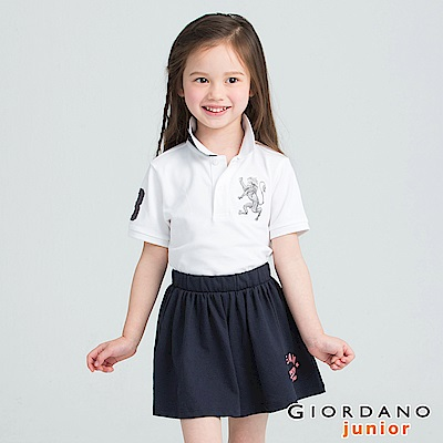 GIORDANO  童裝勝利獅王3D刺繡短袖POLO衫-30 標誌白