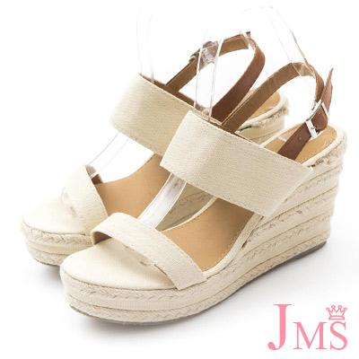 JMS-大人氣簡約一字造型搭色楔型跟涼鞋-杏色
