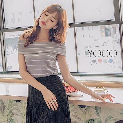 東京著衣-yoco 柔美清新一字領條紋上衣-S.M.L(共四色)
