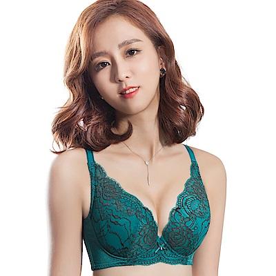 思薇爾 香榭玫瑰系列B-E罩大美背蕾絲包覆內衣(碧瓷綠) - 動態show