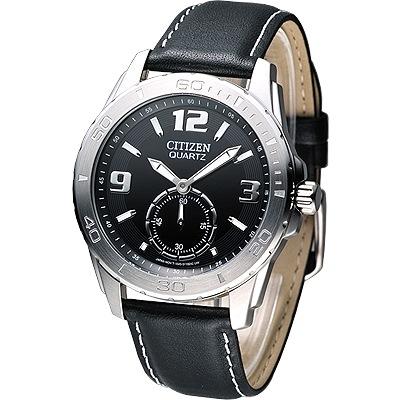 CITIZEN-魅力小秒針都會腕錶-黑-40mm