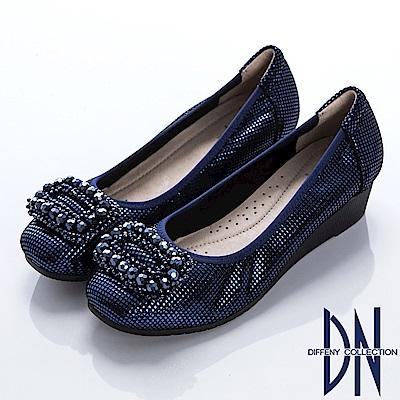 DN 優雅名媛 牛皮拼接方鑽楔型包鞋-藍