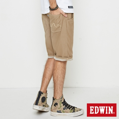 EDWIN 加大碼迦績褲JERSEY合身色褲短褲-男-淺卡其