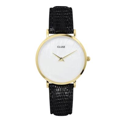 CLUSE MINUIT系列 珍珠母貝錶盤 玫瑰金框黑色壓紋皮革錶帶手錶33mm
