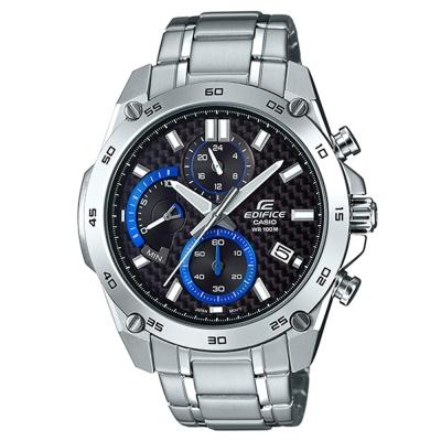 EDIFICE碳纖維編織感扇形錶眼設計腕錶(EFR-557CD-1A)黑面46.2mm