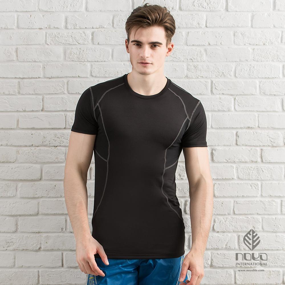 【NOYA】超彈健身訓練速乾運動緊身上衣-黑色(N62MA29)