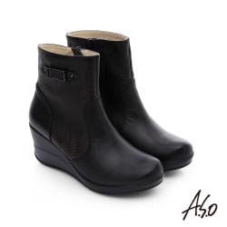 A.S.O 美型氣墊 圖騰拼接拉鍊飾釦奈米厚底短靴 黑色
