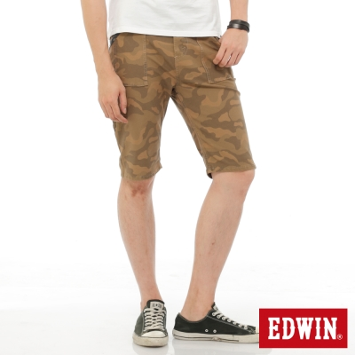 EDWIN 迦績褲JERSEYS迷彩短褲-男-卡其色