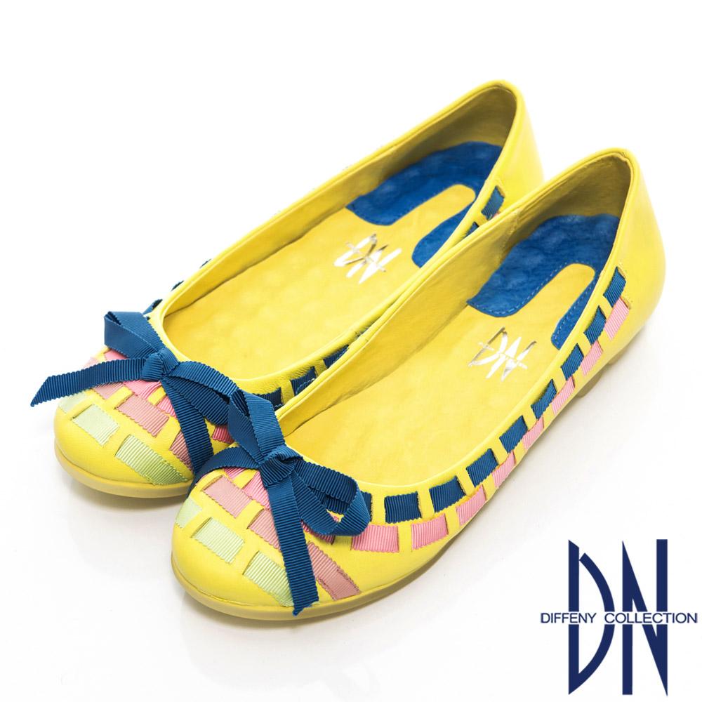 DN 甜美名媛 繽紛緞帶拼接真皮娃娃鞋 黃 @ Y!購物