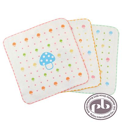 貝柔-香菇點點紗布抗菌小方巾3入組(共3色)