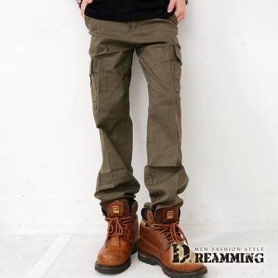 Dreamming 多口袋斜紋布伸縮休閒長褲-軍色