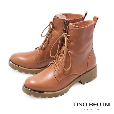 Tino Bellini 街頭率性印象綁帶厚底軍靴_棕