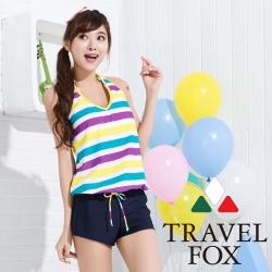 夏之戀TRAVEL FOX 亮麗色彩連身褲三件式泳裝