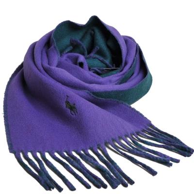 RALPH LAUREN POLO 小馬刺繡LOGO雙面配色義大利製羊毛圍巾(紫/綠)