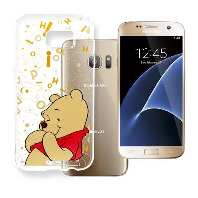 迪士尼 Samsung Galaxy S7 5.1吋 大頭透明手機軟殼(摀嘴維尼...