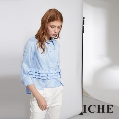 ICHE 衣哲 時尚荷葉拼接前短後長造型粉藍襯衫上衣