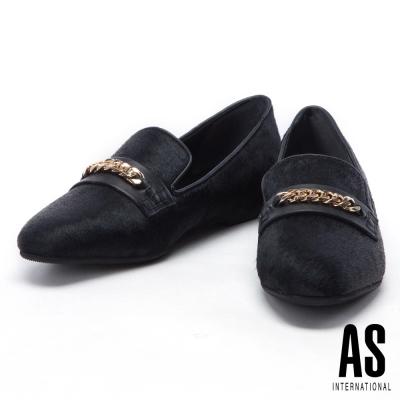 平底鞋 AS 時尚復古金屬鍊飾點綴異材質拼接平底鞋-黑